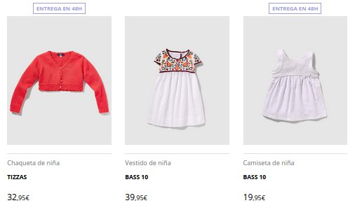 El Corte Inglés moda infantil precios