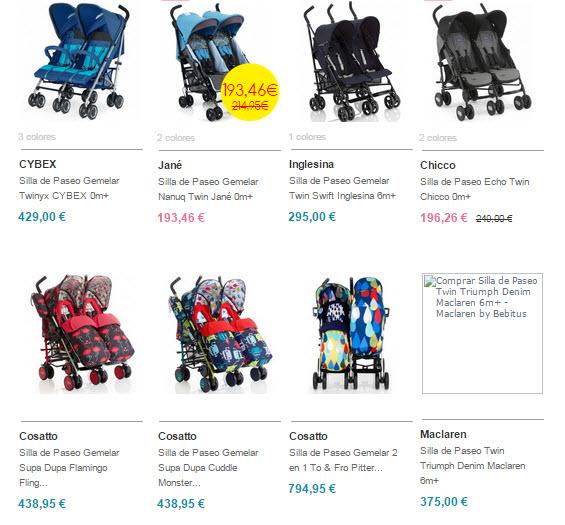 bebitus sillas de paseo gemelares