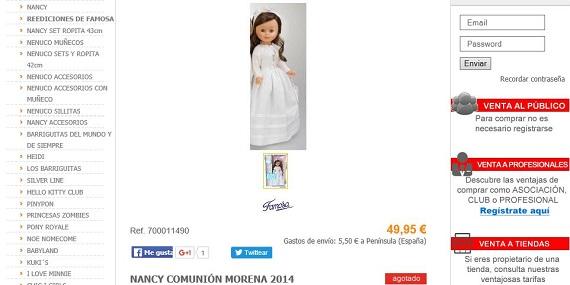muñecas de comunión Nancy